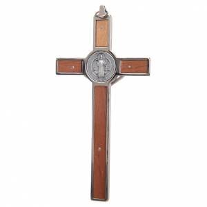 Benedikt Kreuze und Medaillen: Kreuz Sankt Benedikt aus Zamak-Legierung mit Holz-Schnitzerei