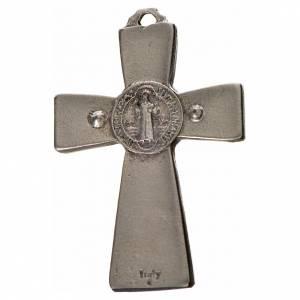 Benedikt Kreuze und Medaillen: Kreuz Sankt Benedikt Zamak-Legierung schwarzes Email 4.8x3.2 cm