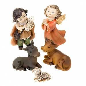 Krippe aus Harz und Stoff: Krippe Kinder 13 Zentimeter