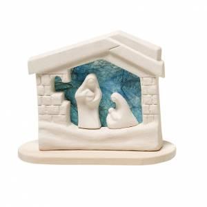 Stilisierte Krippe: Krippe mit kleinem Haus auf Fundament aus Ton tuerkis 14.5 cm