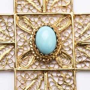 Akcesoria dla biskupa: Krzyż biskupi srebro 800 złocony filigran turkus