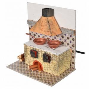 Hauszubehör für Krippe: Küche mit Feuereffekt Lampe, 15x10x15,5cm