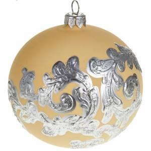 Tannenbaumkugeln: Kugel Weihnachtsbaum Glas elfenbeinfarbig und silbrig 10 cm