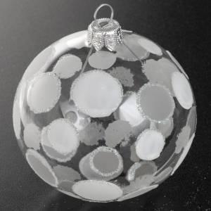 Tannenbaumkugeln: Kugel Weihnachtsbaum transparentes Glas weiß 8 cm