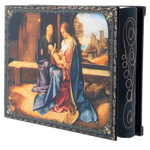 Lacca russa decorata papier machè La Nascita di Gesù Cristo 22X16 cm s2
