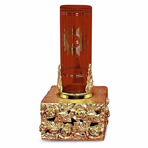 Lampada tabernacolo foglie ottone dorato fuso 16x9x9 s1