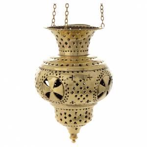 Lampe orientale en laiton Moines de Bethléem h 20 cm s1