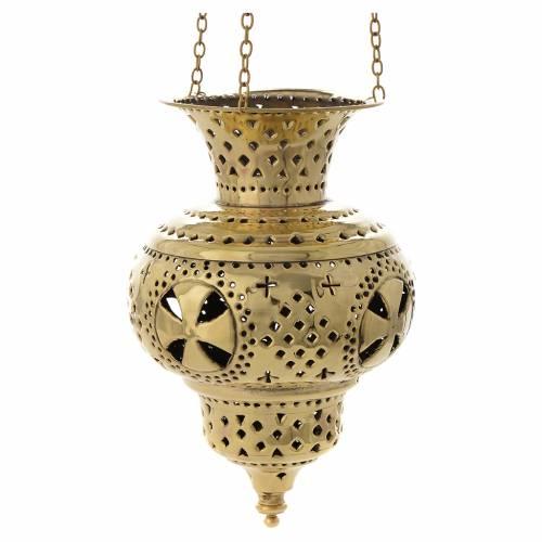 Lanterna orientale in ottone Monaci di Betlemme h 20 cm s1