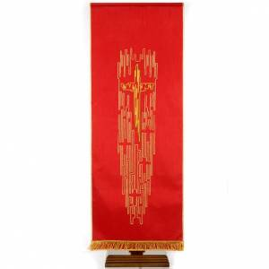 Lectern cover shantung stylised golden cross s1