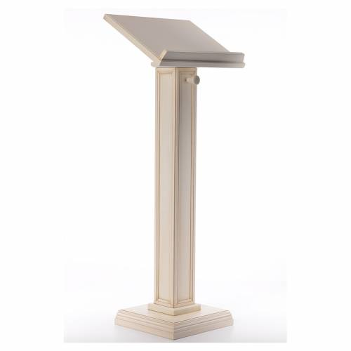 Lectern in walnut wood with squared pedestal, ivory colour s4