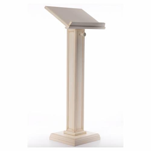 Leggio a colonna quadra legno di noce color avorio s4