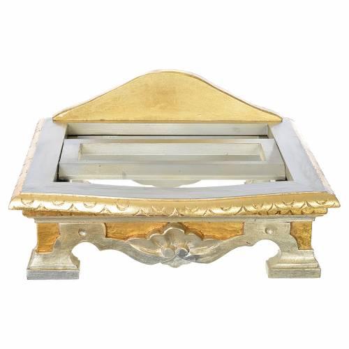 Leggio da tavolo legno foglia argento oro s6