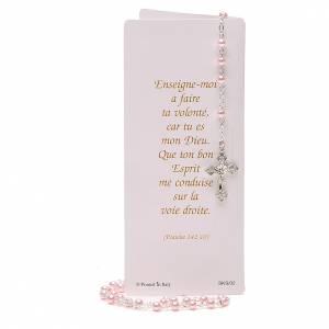 STOCK Libretto ricordo Cresima FRANCESE con rosario rosa s5