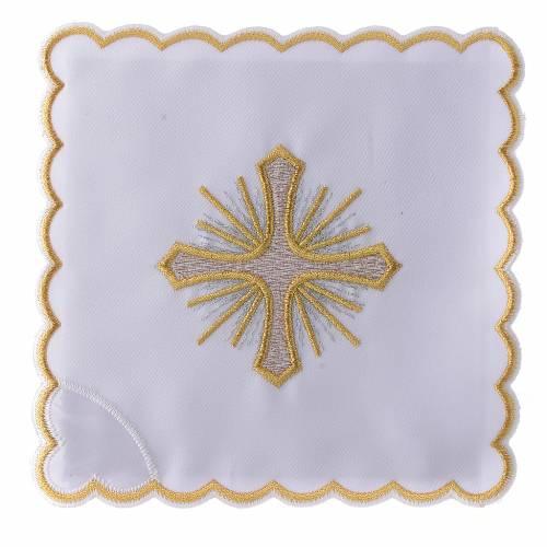 Linge autel coton croix rayons broderie dorée s1