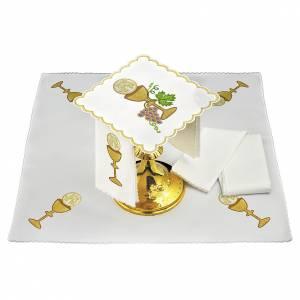 Linge autel lin raisin contours dorés calice hostie IHS s1