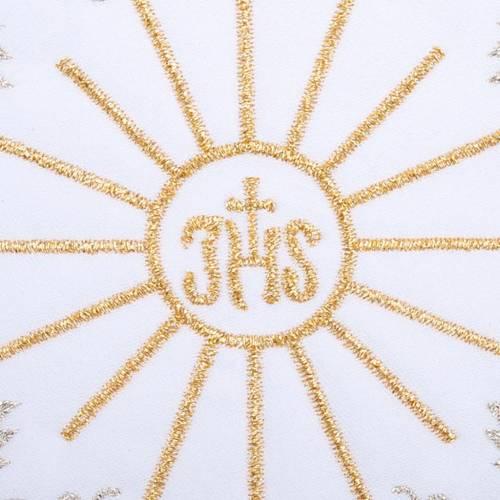 Linge d'autel 4 pcs brodé symbole IHS s3