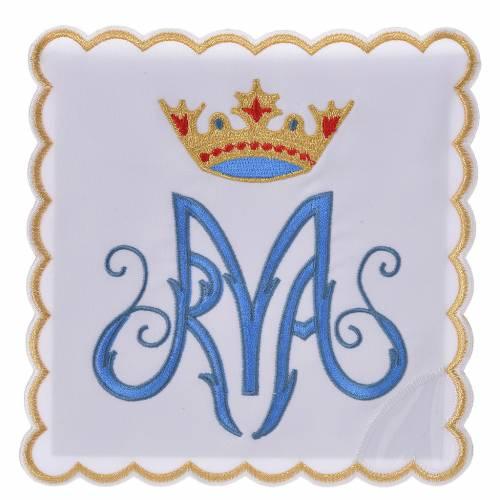 Linge d'autel 4 pcs symbole Marial M s1