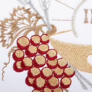 Linge d'autel 4 pcs symboles IHS, épis, raisin s3