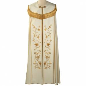 Copes, Roman Chasubles and Dalmatics: Liturgical cope with gold IHS symbol and roses embroideries