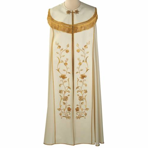 Liturgical cope with gold IHS symbol and roses embroideries s1