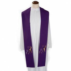 Liturgical stole with chalice and grapes embroidery s3