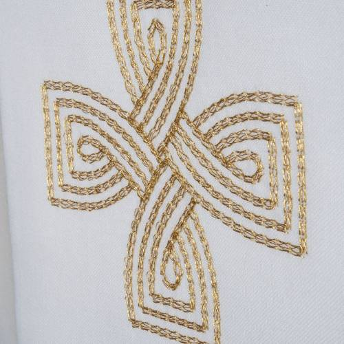 Liturgical stole with golden cross and interlaced embroidery s3