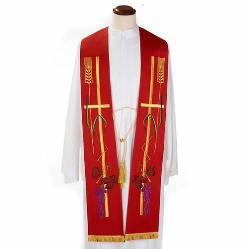 Liturgical stole with golden cross, ear of wheat and grapes s2
