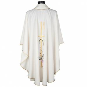 Liturgical vestment in polyester with grapes and long cross s4