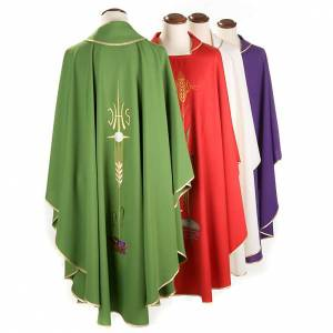 Chasubles: Liturgical vestment with IHS symbol, ears of wheat, chalice