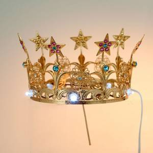 Crowns and halos for religious statues: Luminous crown in brass filigree gold color