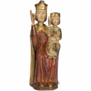 Statue in legno dipinto: Madonna con bimbo stile romanico 56 cm legno finitura anticata