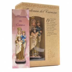 Madonna del Carmine 12 cm con immaginetta PREGHIERA ITALIANO s3