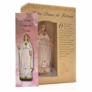Madonna di Fatima 12 cm con immaginetta PREGHIERA FRANCESE s3