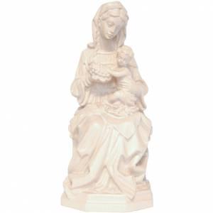 Madonna seduta con bimbo e uva legno Valgardena naturale cerato s1