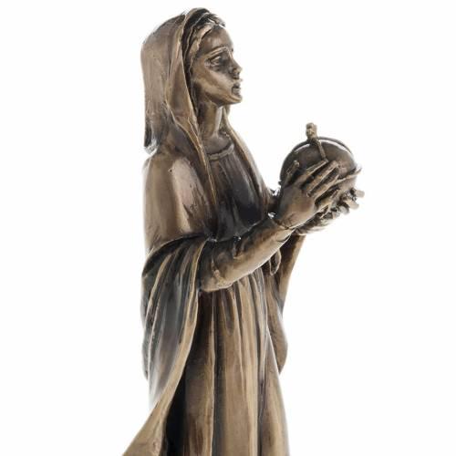 Madonna statua resina color metallo bronzato 16 cm s2