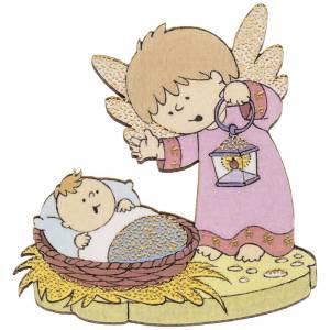 Magnet de frigo Jésus et ange bois s1