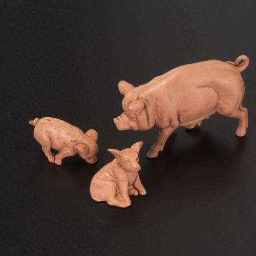 Famiglia di maiali per presepe 6 pz. 10 cm s2