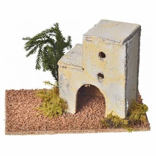 Maison arabe en bois pour crèche 8x14x9 cm s1