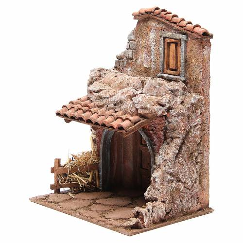 Maison avec étable pour crèche 30x24x18 cm s2