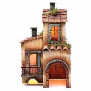 Crèche Napolitaine: Maison bois décor pour crèche napolitaine 34x21x12 cm