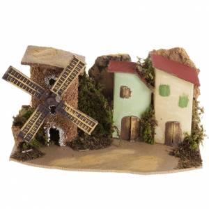 Maison crèche Noel avec moulin s1
