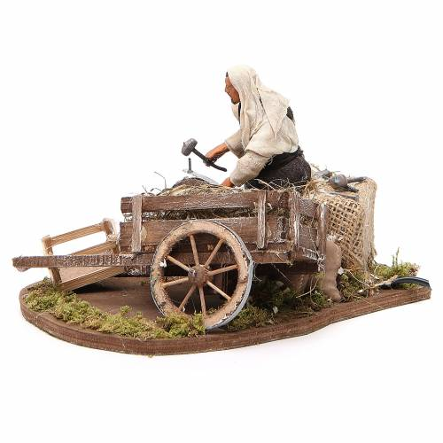 Man fixing wheel with cart, animated Neapolitan Nativity figurine 12cm s2