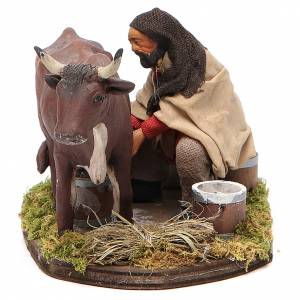 Neapolitan Nativity Scene: Man milking cow, Neapolitan nativity figurine 12cm
