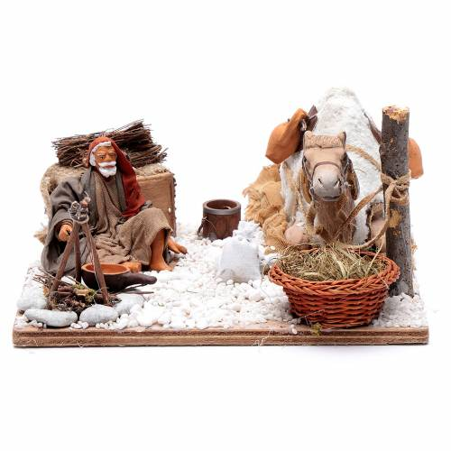 Man with camel, animated Neapolitan Nativity figurine 12cm s1