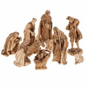 Jerusalem olive wood nativity scene: Manger scene in Palestinian olive wood 30 cm