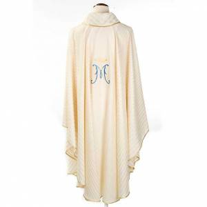 Marian chasuble in wool with metallic motifs s2