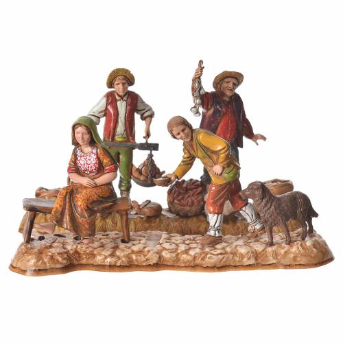 Market scene, nativity figurine, 10cm Moranduzzo, 2 pcs s1
