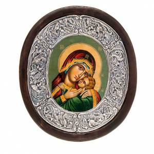 Mary with Child icon, silver frame s1