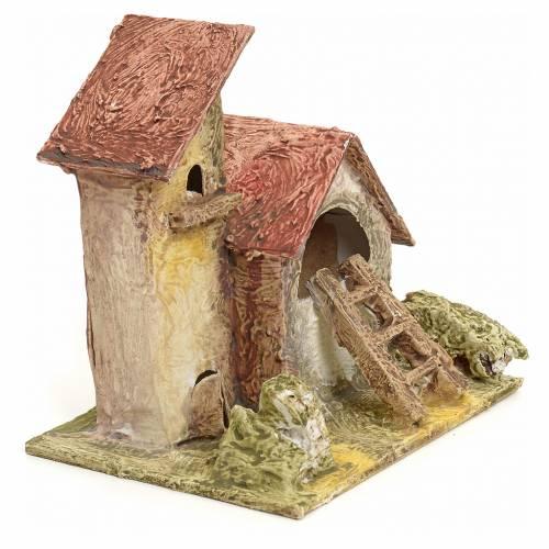 Mas en miniature en bois stucqué pour crèche s2