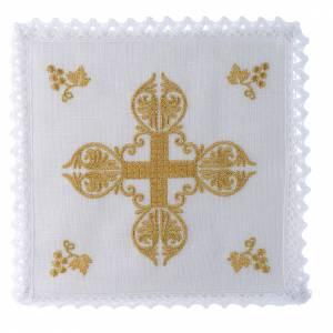 Altar linens: Mass linen set 100% linen golden cross